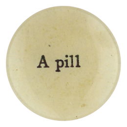 A Pill decoupage four inch round plate handmade in our New York City studio