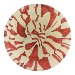 Candy Striped is a red and white hand made decoupage four inch round plate