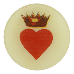 A four inch round red heart with crown titled Crowned Heart