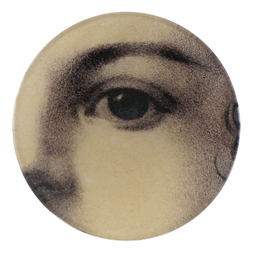 A four inch round handmade decoupage plate titled Girl's Eye