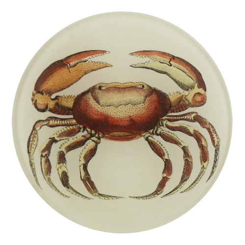 A four inch round handmade decoupage plate titled Oval Crab