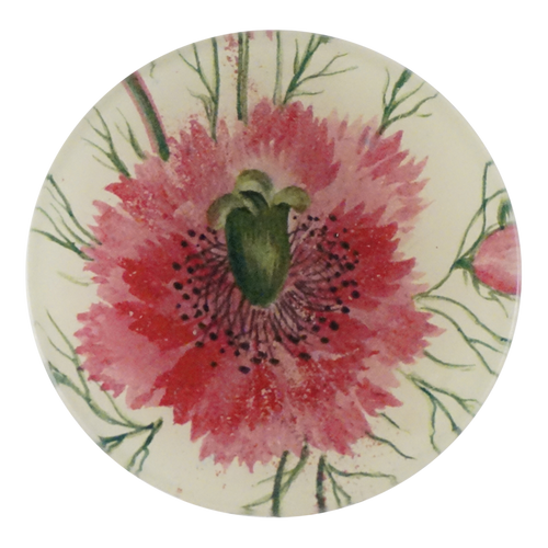A four inch round handmade decoupage plate titled Pink Spray