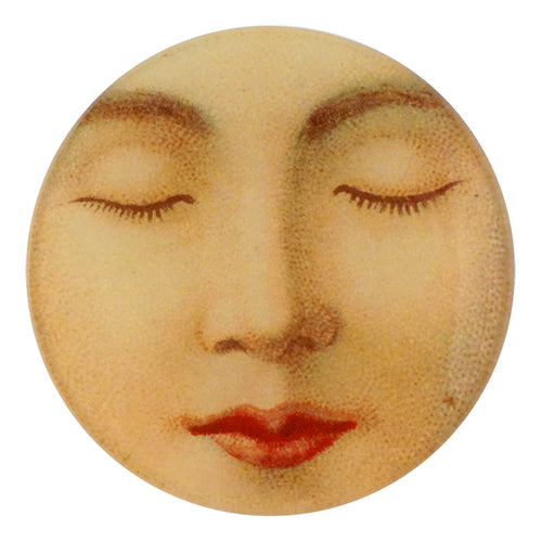 A four inch round handmade decoupage plate titled Sleeping Lady