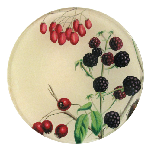 A four inch round handmade decoupage plate titled Sweet Berries