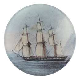 A four inch round handmade decoupage plate titled Tall Ship