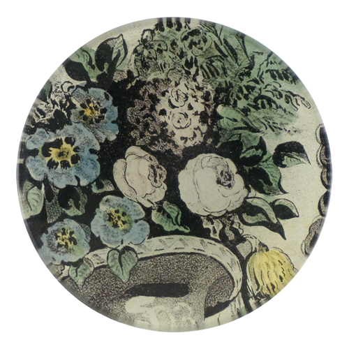 A four inch round handmade decoupage plate titled Urn with Flowers