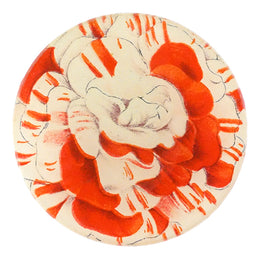 Balsaminen number five is a four inch round handmade decoupage item that is red and white