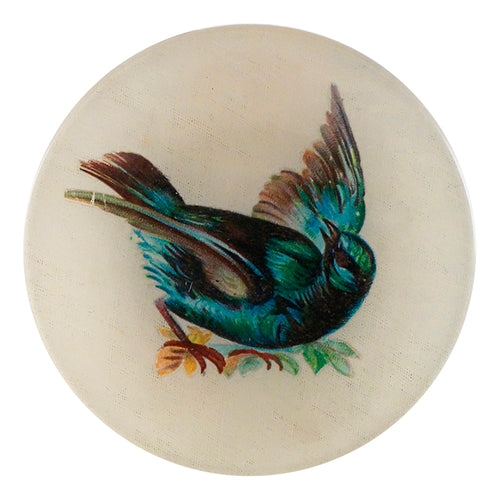 Bathing is a green, black and blue bird on a four inch round handmade decoupage plate.