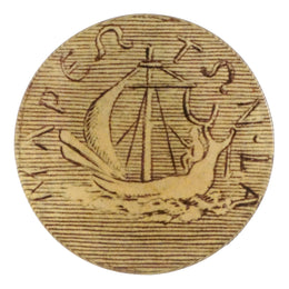 Boat Coin is a gold coin as a four inch round decoupage plate.