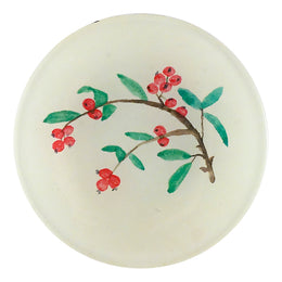 Cooper's Berries is a beautiful handmade decoupage plate with red berries and green leaves