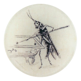 Cricket Table portrays a cricket play pool in a four inch round decoupage plate
