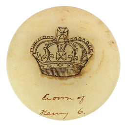 A crown four inch round decoupage plate titled Crowns - Henry the sixth