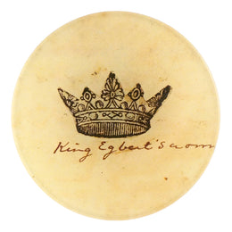 A crown four inch round decoupage plate titled King Egbert
