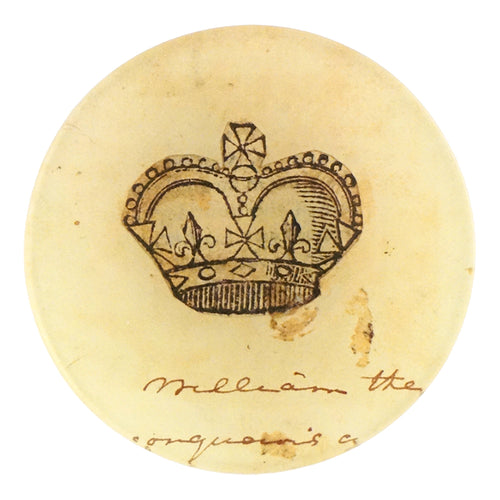 A crown four inch round decoupage plate titled Crowns - William the Conqueror