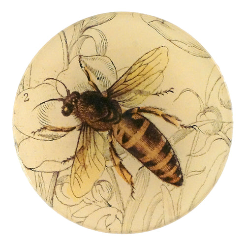 A four inch round handmade decoupage plate titled Honey Bee (Facing Left)