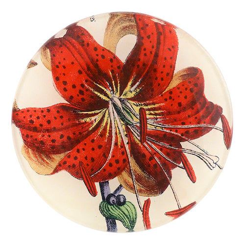 A four inch round handmade decoupage plate titled Red Lily