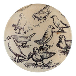 A four inch round handmade decoupage plate titled Eight Birds
