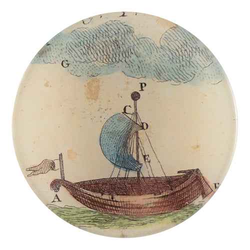 A four inch round handmade decoupage plate titled Single Sail