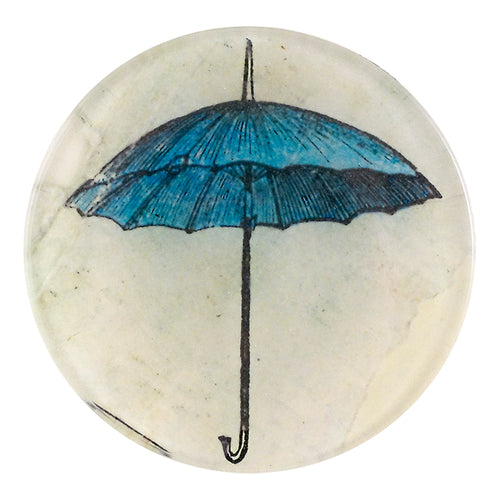 A four inch round homemade decoupage plate titled Umbrella