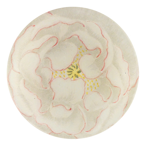 A four inch round handmade decoupage plate titled White and Pink Poppy