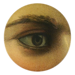 Casey showcases an elegant eye as a four inch round handmade decoupage plate