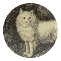 A four inch round handmade decoupage plate titled White Cat