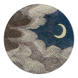 Clouds & Crescent Moon in a five inch round plate