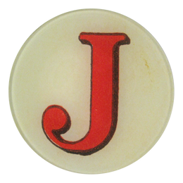 Red Letter J five inch round plate