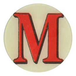 Red Letter M in a five inch round plate