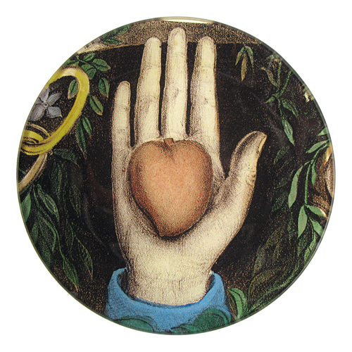 Heart in Hand five inch round plate