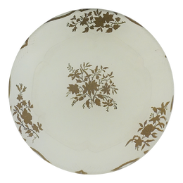 A five inch round decoupage sale plate titled Butter Plate 7 (Gold Leaves)