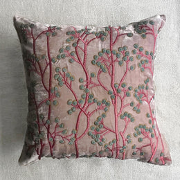 Berries Silk Velvet Cushion in Old Rose