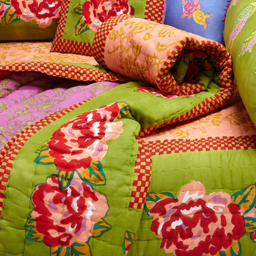 Lisa Corti Twin Quilt in Double Peonia Acid Green 180 x 270cm
