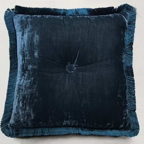 Silk Velvet Cushion in Indigo with Indigo Fringe