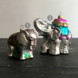 Two Elephants Glass Ornaments