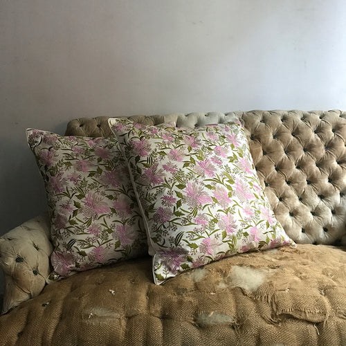 Pair of Fabia Cushions in Ivory Silk