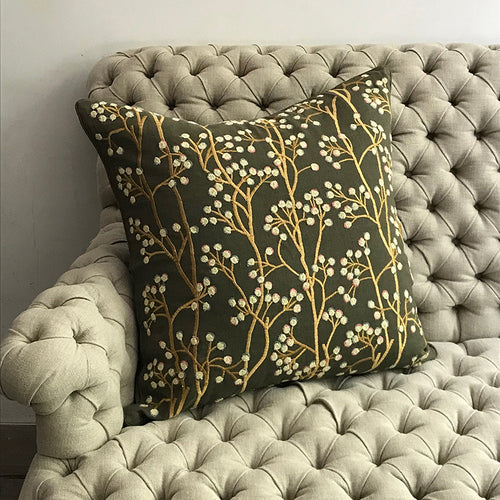 Berries Pillow in Green Linen