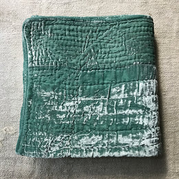 Silk Velvet Throw in Berg Blue