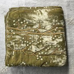 Berries Silk Velvet Throw in Sage