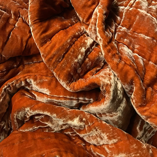 Silk Velvet Throw in Tangerine
