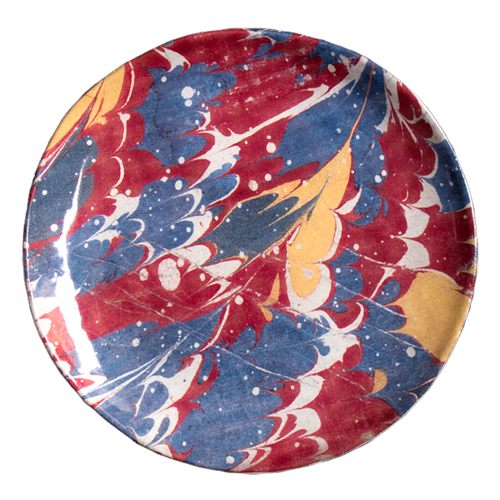 Red Blue & Yellow Marble Dessert Plate