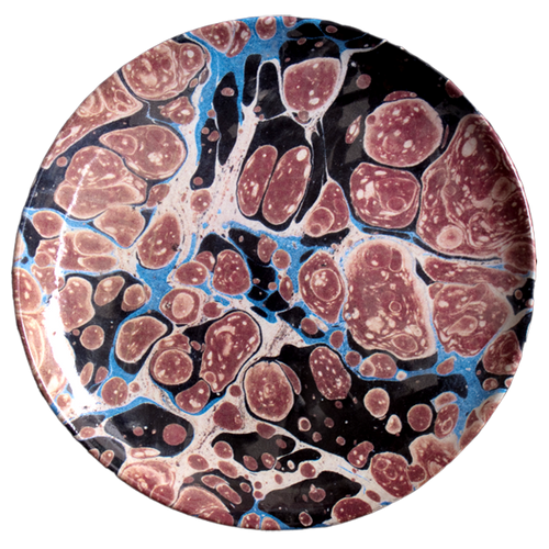 Black Blue & Red Marble Dinner Plate