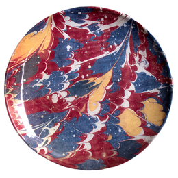 Red Blue & Yellow Marble Dinner Plate