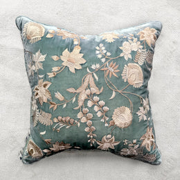 Madame Bovary Silk Velvet Cushion in Ocean