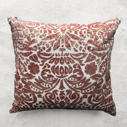 Monaco Cotton Embroidered Cushion in Ivor & Shaded Rose