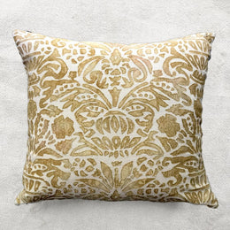 Monaco Cotton Embroidered Cushion in Ivor & Shaded Yellow