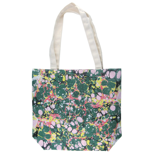 Green Marbled Canvas Tote Bag