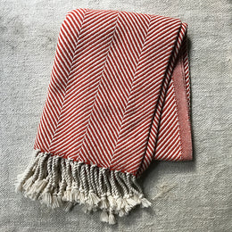 Herringbone Throw Blanket in Coral