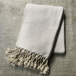 Herringbone Throw Blanket in Ivory