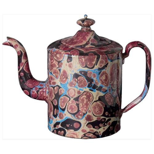 Black Blue & Red Marble Teapot- Large